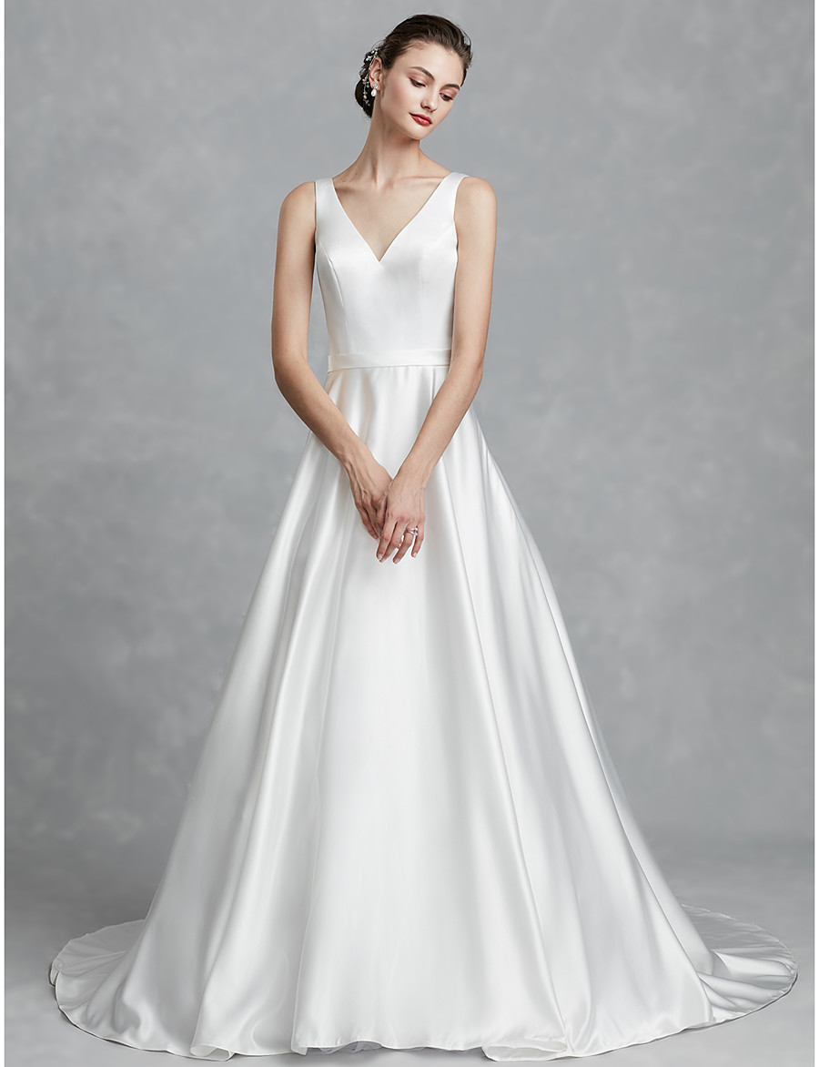be6622d69 ADOR Princess V Neck Court Train Satin Wedding Dresses with Sashes / Ribbons
