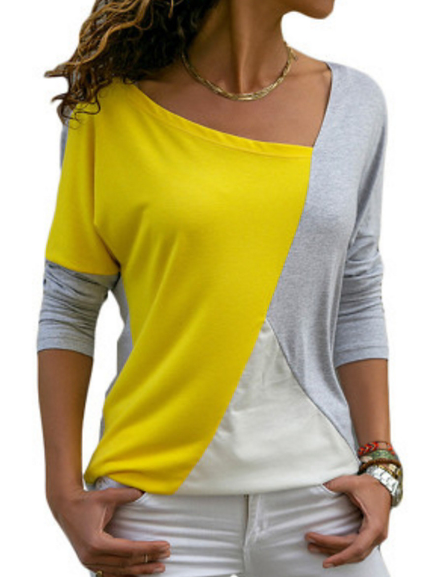 Women's Daily Loose T-shirt - Color Block Yellow