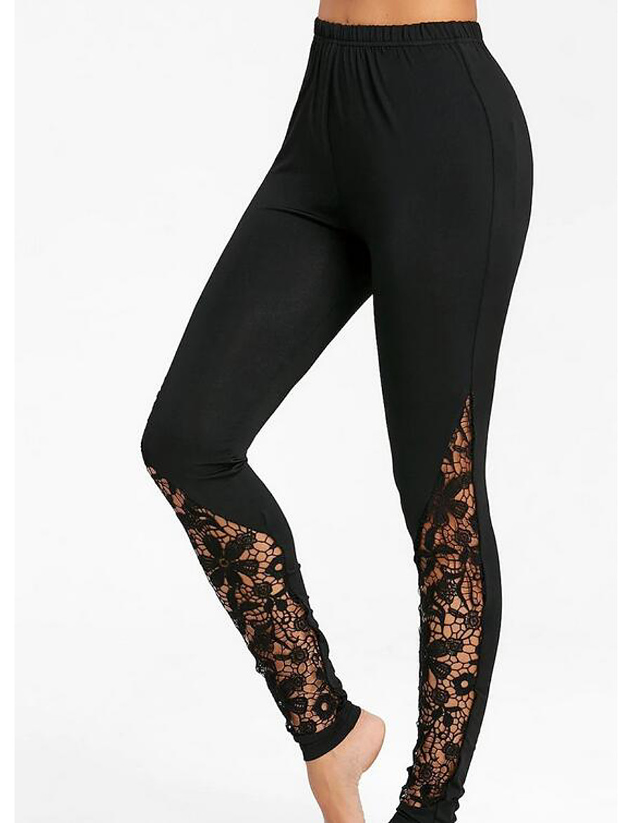 Women's Daily Basic Legging - Solid Colored, Print High Waist Black M L XL