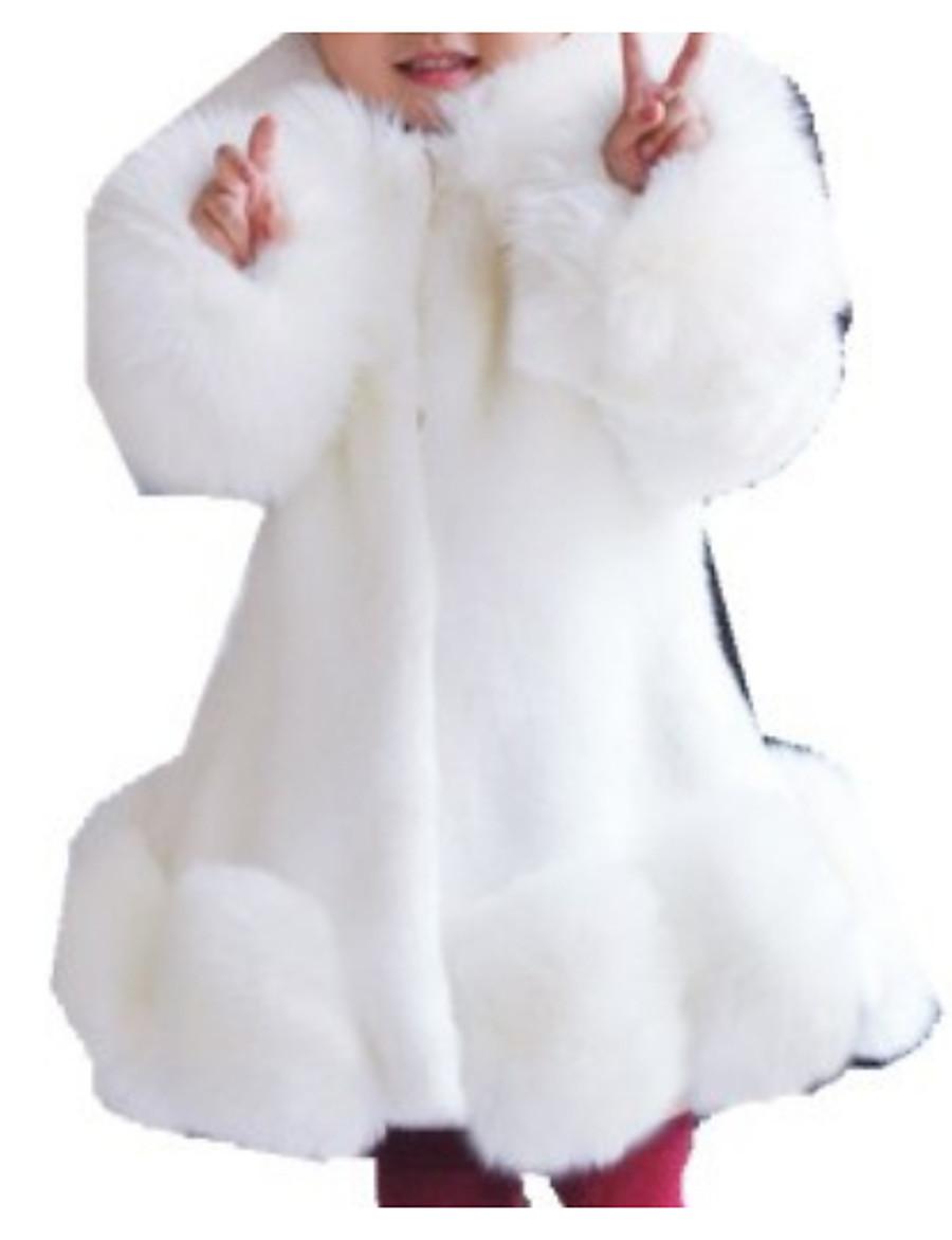 Kids Girls' Jacket & Coat Long Sleeve Blushing Pink White Light gray Fur Trim Solid Colored Faux Fur Basic Fashion Keep Warm 1-12 Years / Winter
