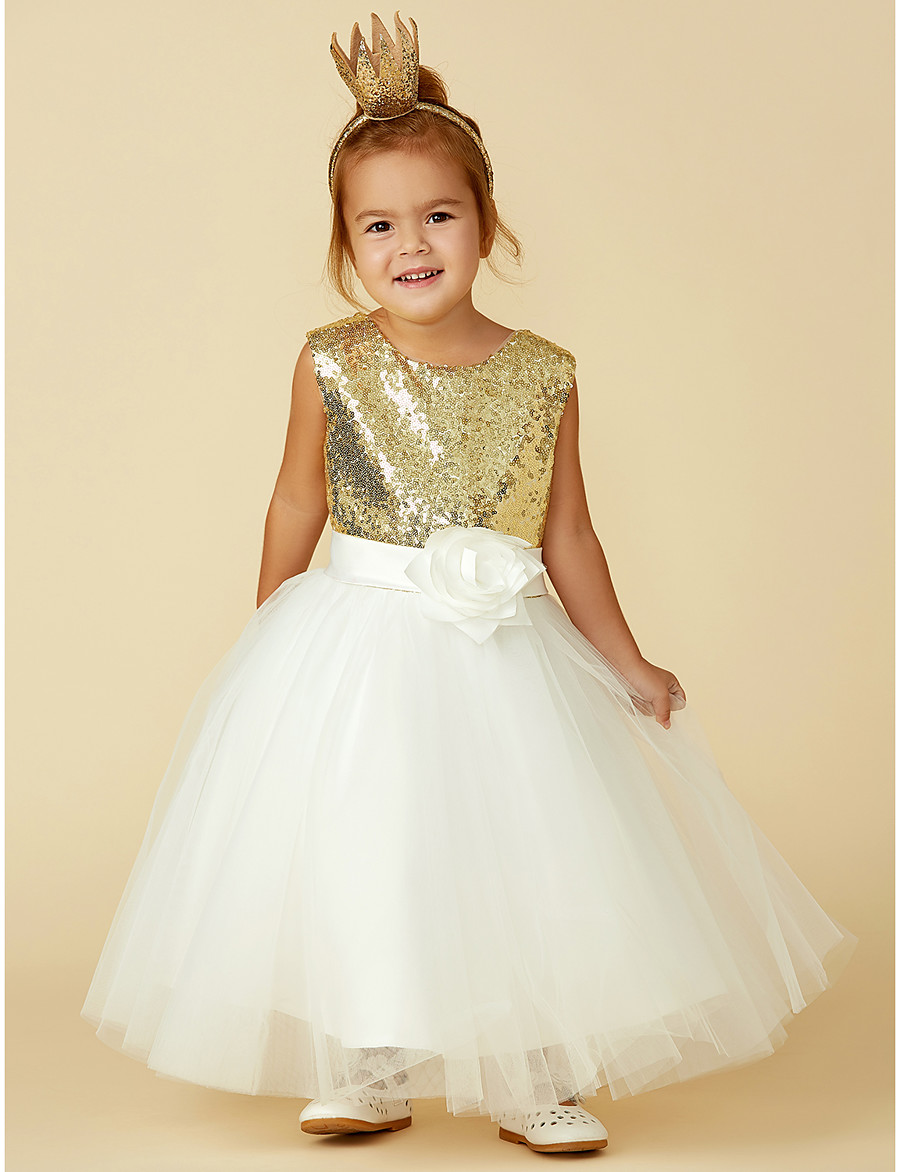 d0f0acfb18785 ADOR Princess Knee Length Flower Girl Dress - Tulle / Sequined Sleeveless  Jewel Neck with Bow