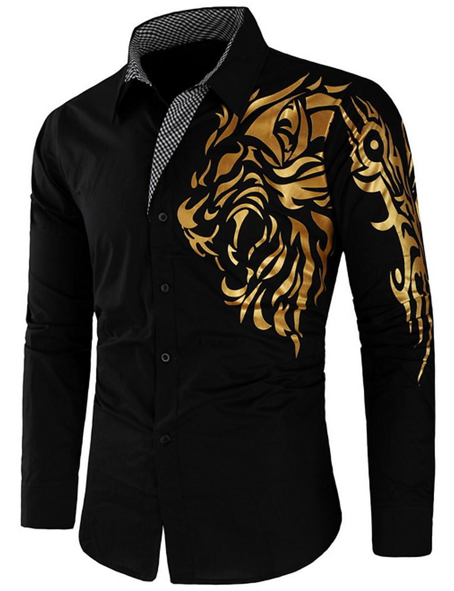 Men's Daily Street chic Slim Shirt - Animal / Tribal Black / Long Sleeve