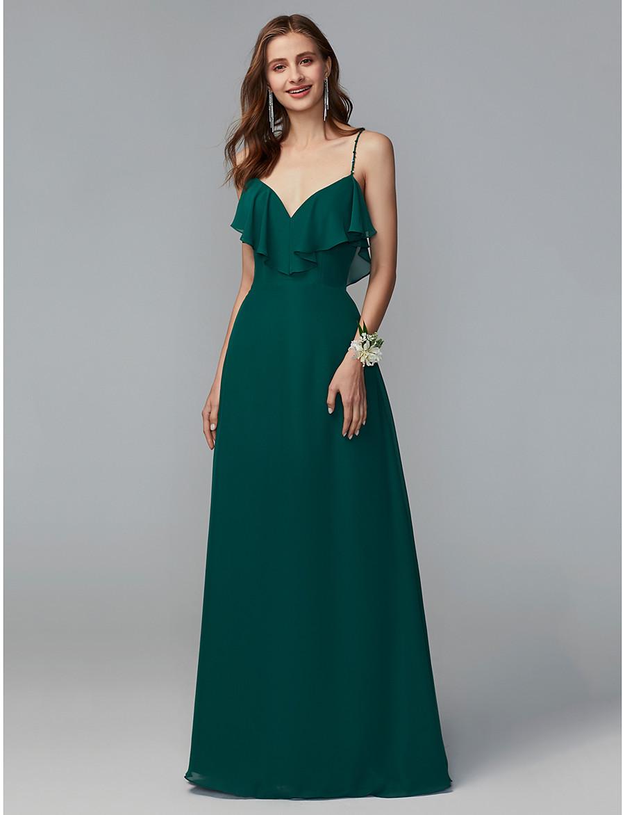 e66f347f51f ADOR Sheath   Column Spaghetti Strap Floor Length Chiffon Bridesmaid Dress  with Beading   Sequin