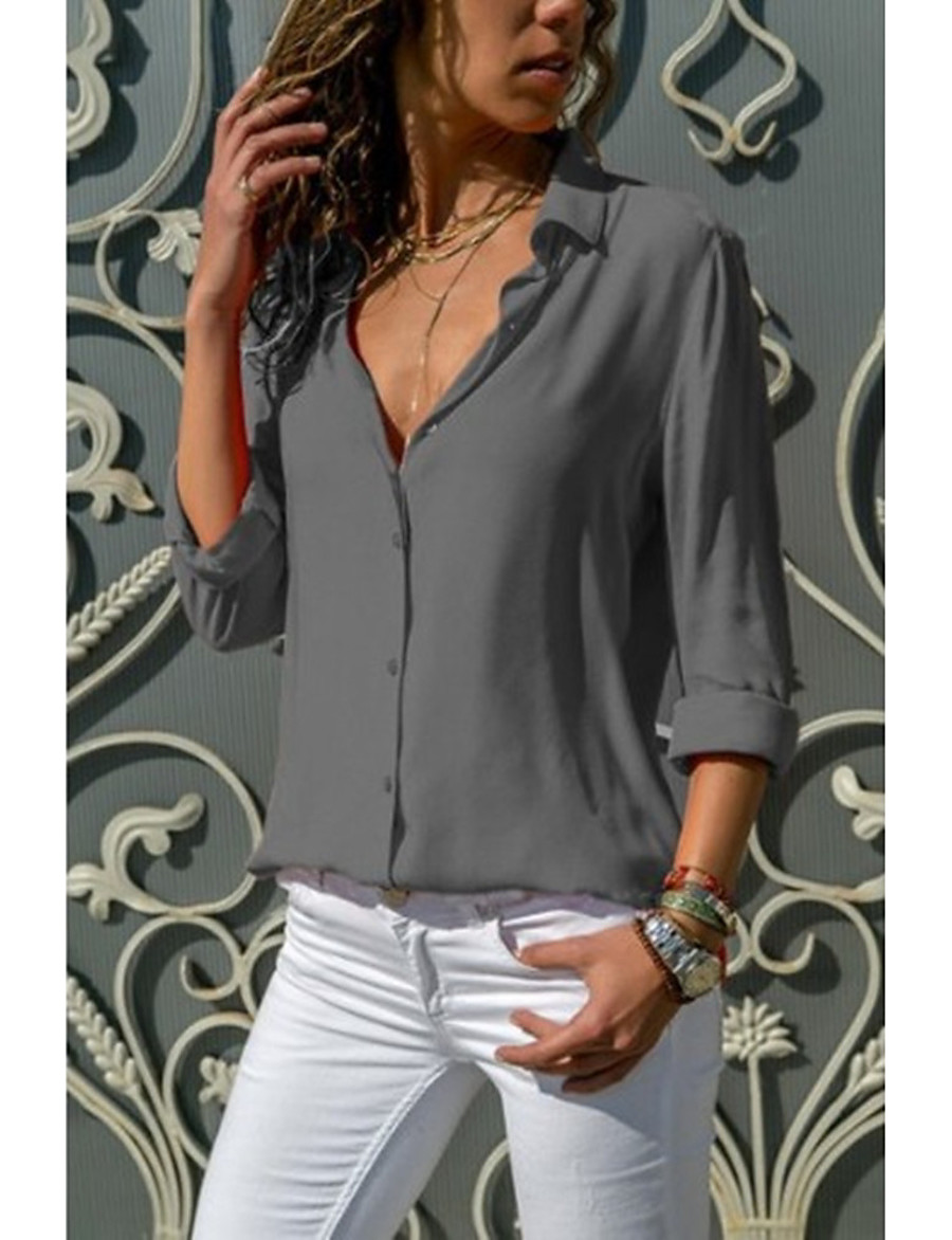 Women's Daily Basic Cotton Blouse - Solid Colored Deep V Gray / Sexy