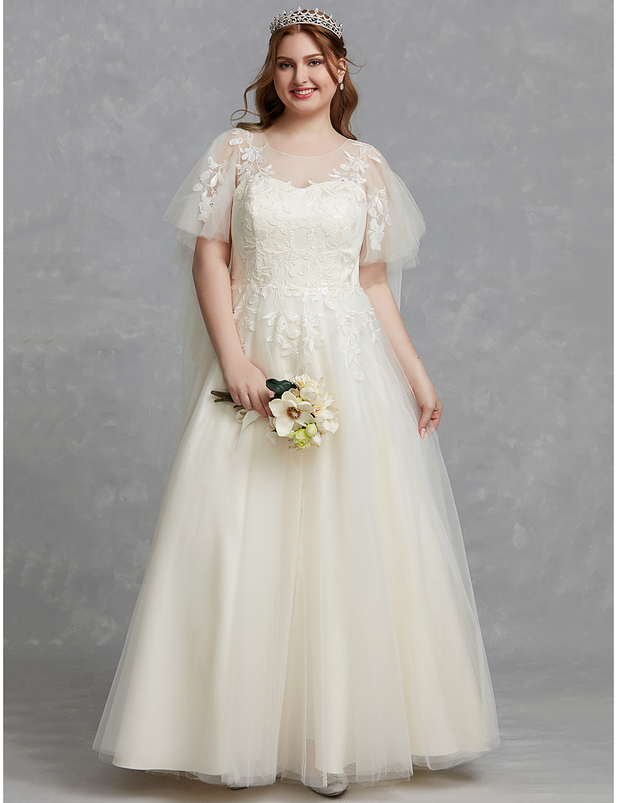 [$279.99] ADOR Plus Size A-Line Scoop Neck Floor Length Lace / Tulle  Wedding Dresses with Appliques / Lace
