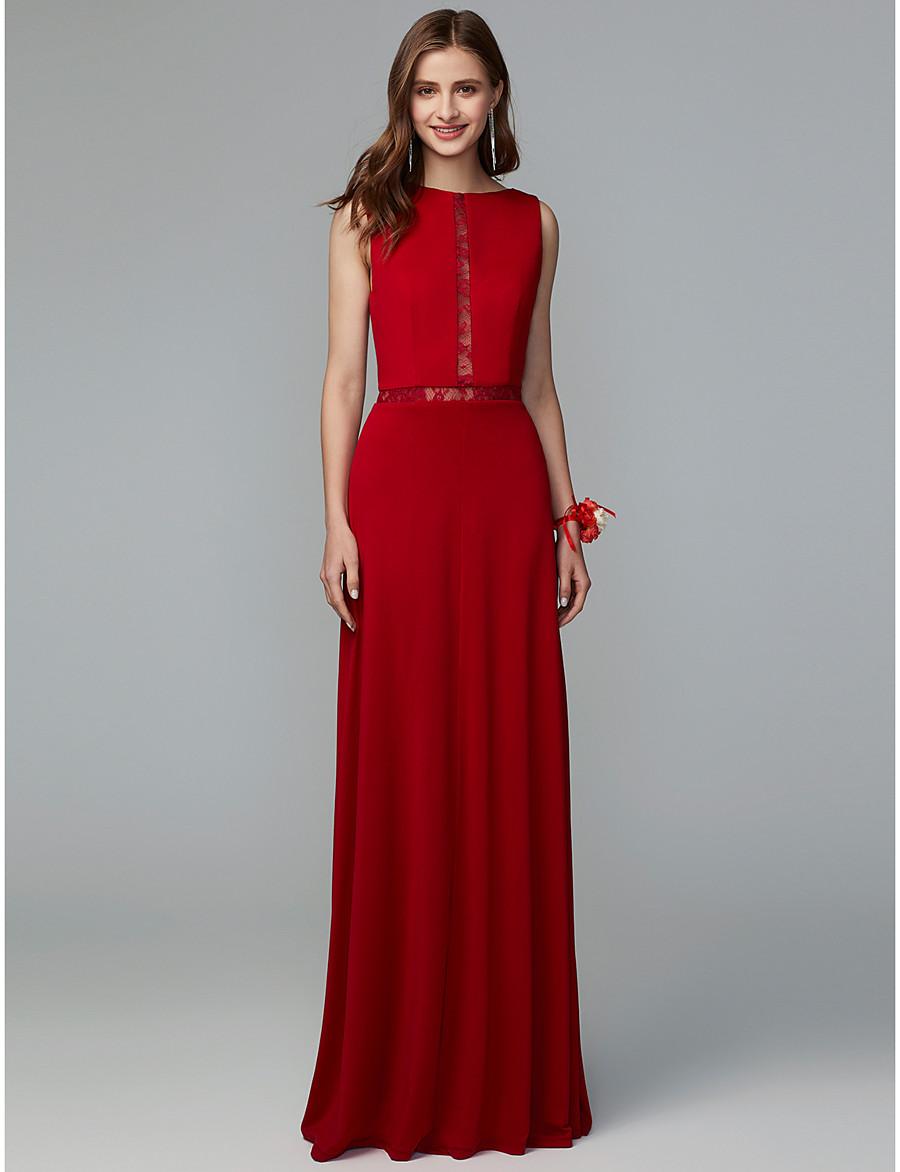 5e2bcbf66f2 ADOR Sheath   Column Jewel Neck Floor Length Lace   Knit Bridesmaid Dress  with Lace