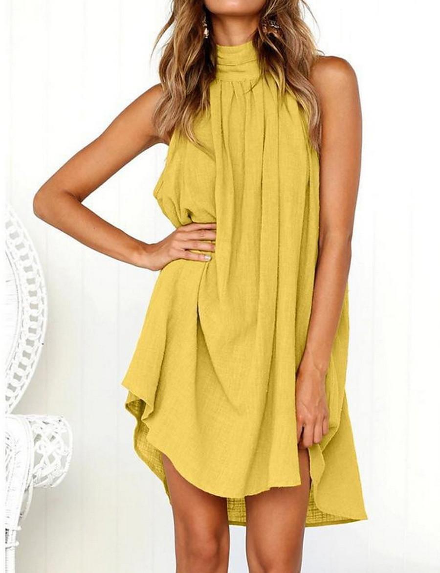 Women's Mini Shirt Dress - Sleeveless Crew Neck Basic Daily White Black Yellow Green S M L XL XXL / Cotton