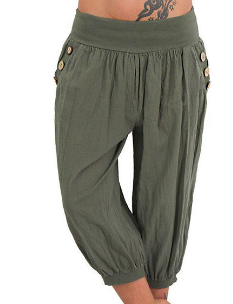 Women's Basic Plus Size Daily Chinos Pants - Solid Colored Gray Light Blue Army Green XXXL XXXXL XXXXXL