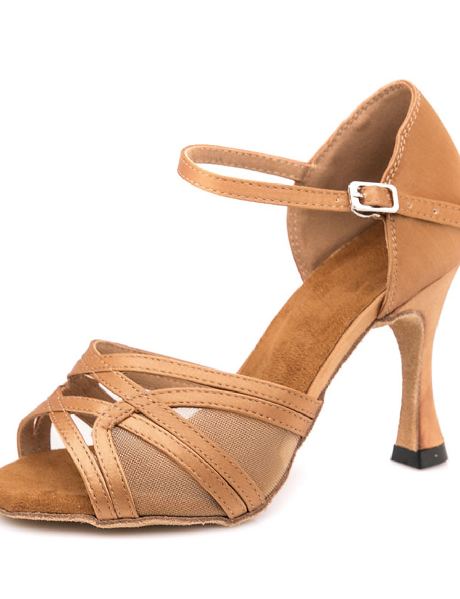 Women's Latin Shoes Sandal Sneaker Slim High Heel Satin Buckle Brown / Performance / Leather / EU37