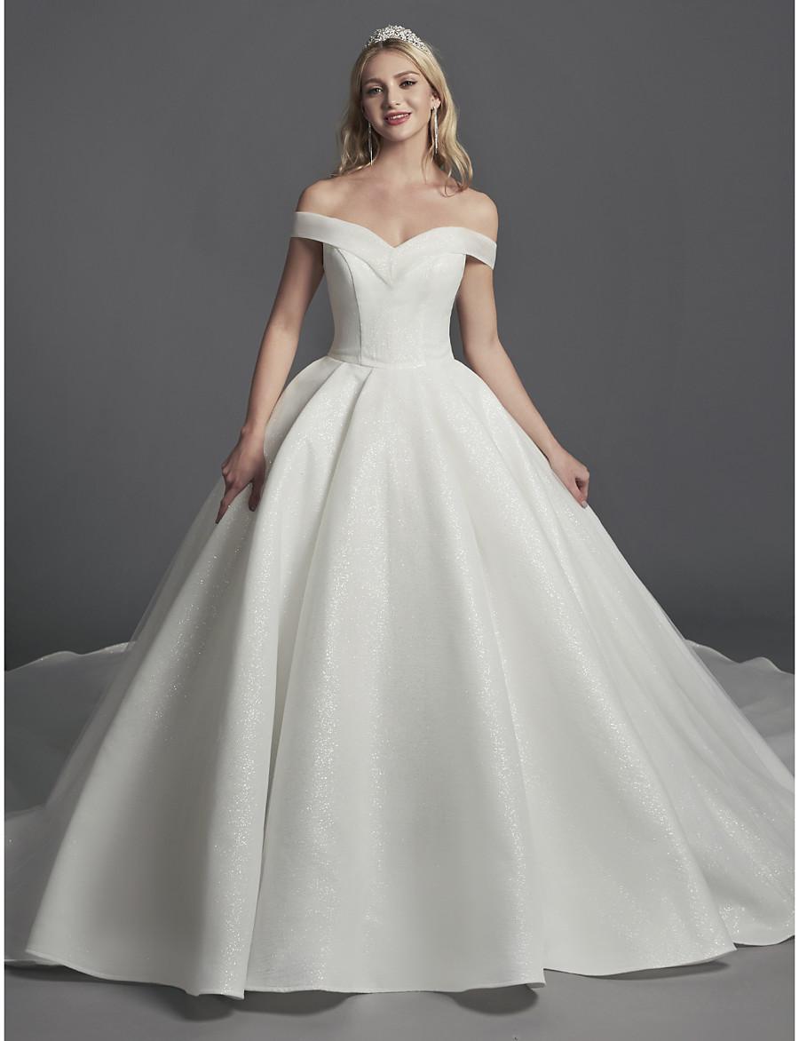 31f0f06bf3ac Off The Shoulder Satin Ball Gown Wedding Dress