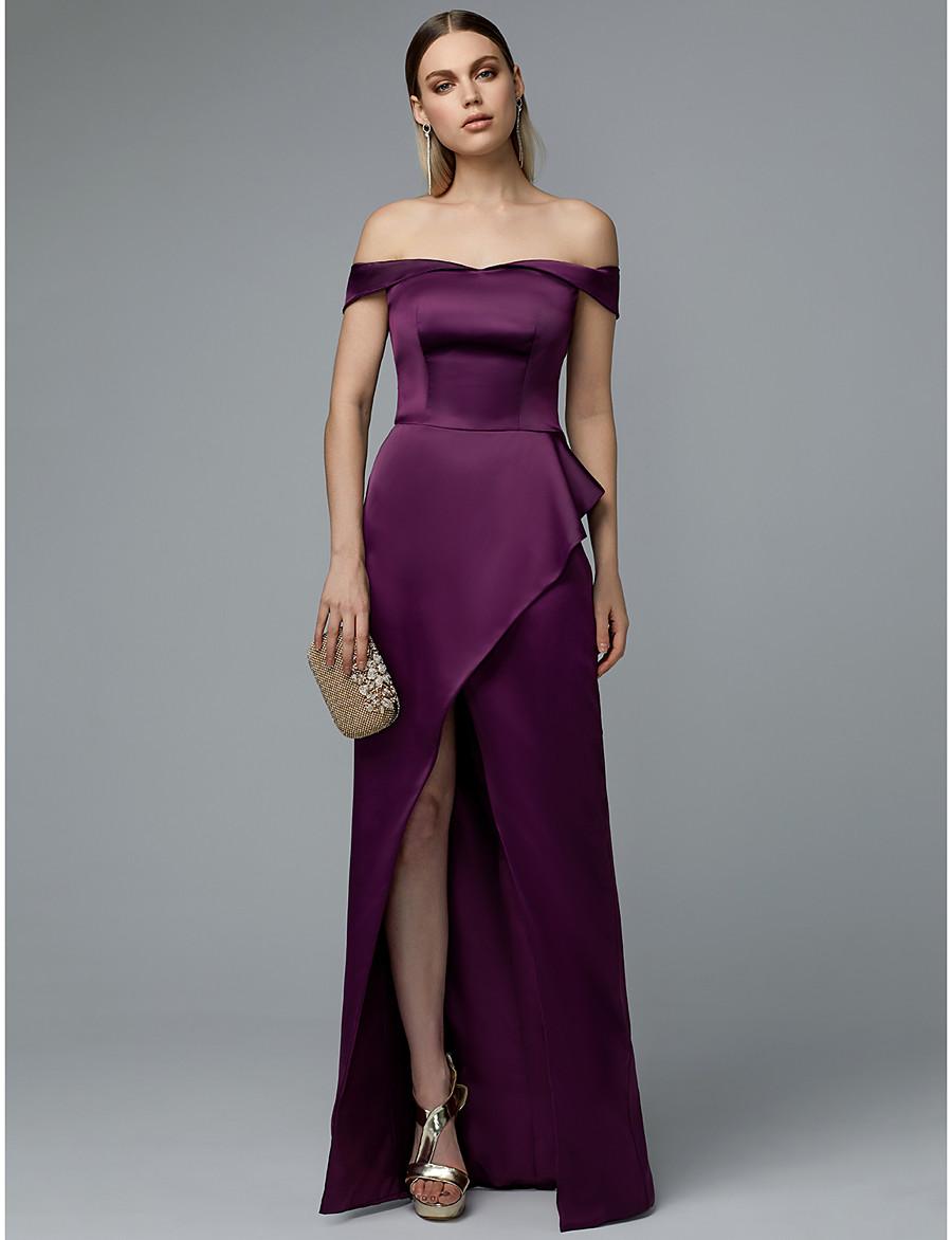 ac3f6e919939 ADOR Prom Dresses Sheath / Column Off Shoulder Floor Length Satin with  Split Front / Ruffles