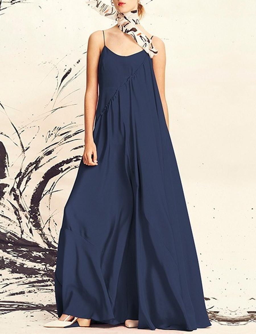 Women's Daily Maxi Swing Dress Strap Cotton Black Blue S M L XL