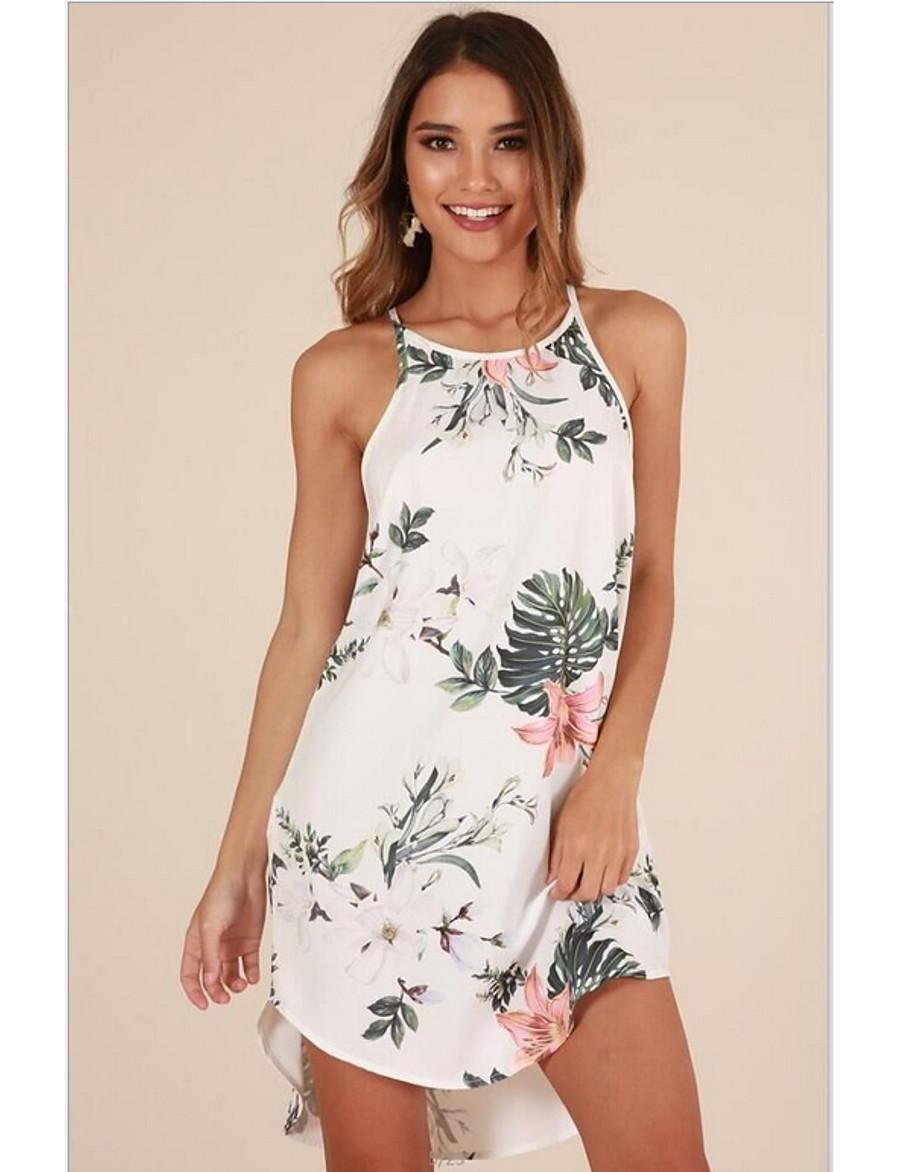 Women's White Navy Blue Dress Holiday Beach Sheath Strap Print S M