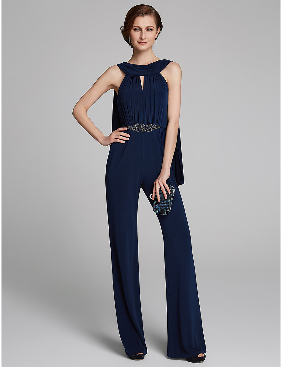 8e398871bf9 ADOR Jumpsuits Cowl Neck Floor Length Jersey Mother of the Bride Dress with  Beading   Ruching