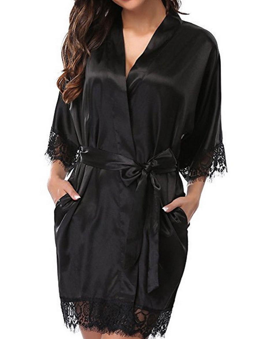 Femme Robe de chambre / Satin & Soie / Costumes Vêtement de nuit Dentelle, Couleur Pleine Noir Blanche Rouge S M L