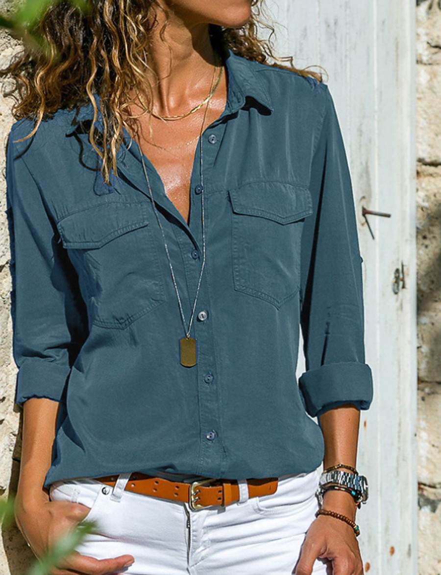 Women's Daily Basic Plus Size Shirt - Solid Colored Shirt Collar Gray