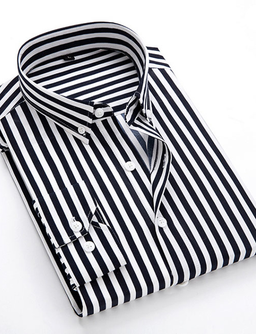Men's Daily EU / US Size Shirt - Striped Classic Collar Black / Long Sleeve