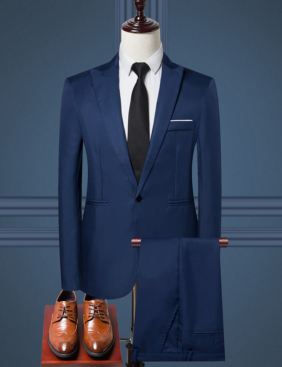 Men's Work Regular Suits, Solid Colored Shirt Collar Long Sleeve Polyester Black / Wine / Light Blue