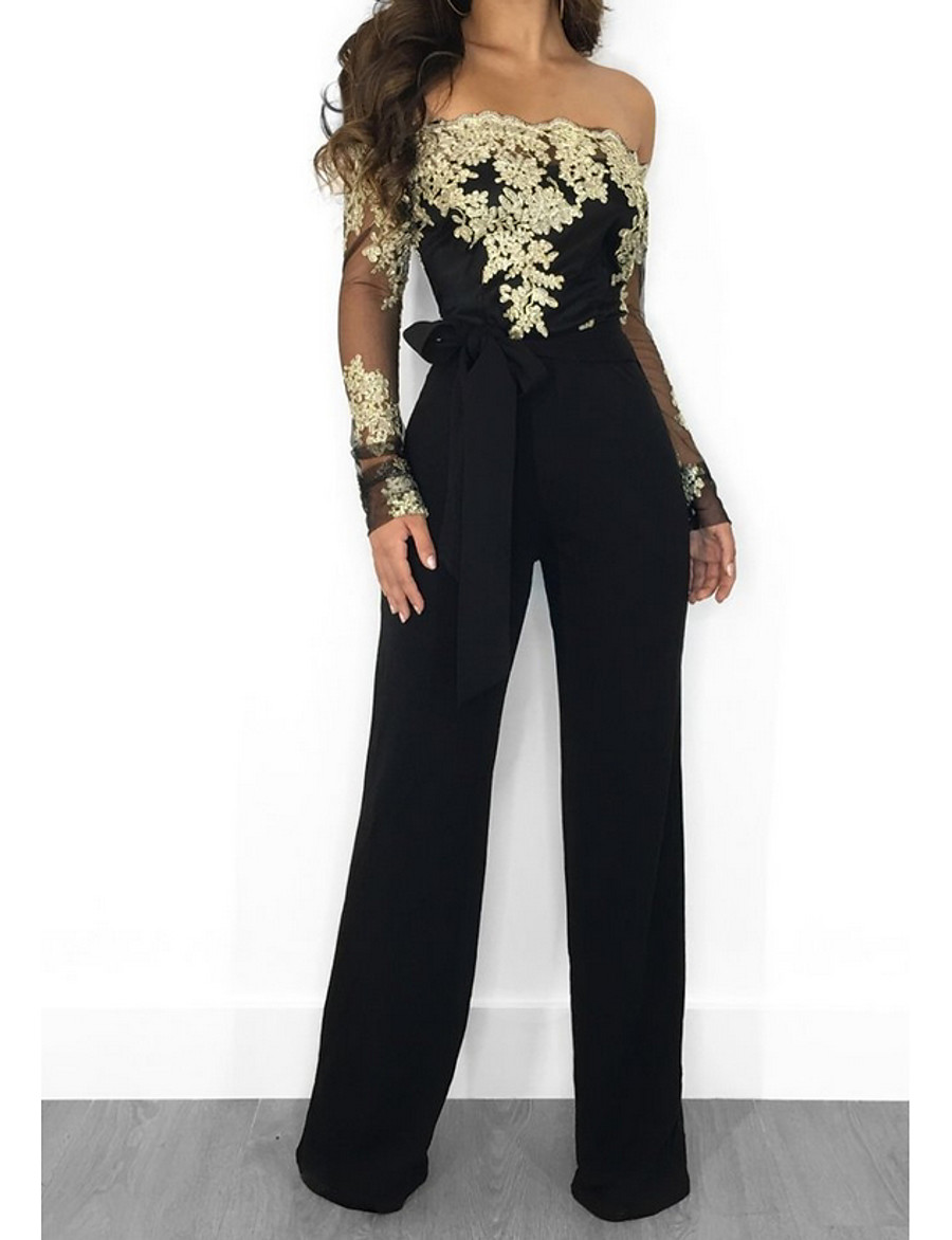 Women's Black Wine Gold Jumpsuit Floral Lace Tulle Chiffon Lace Cotton / Wide Leg