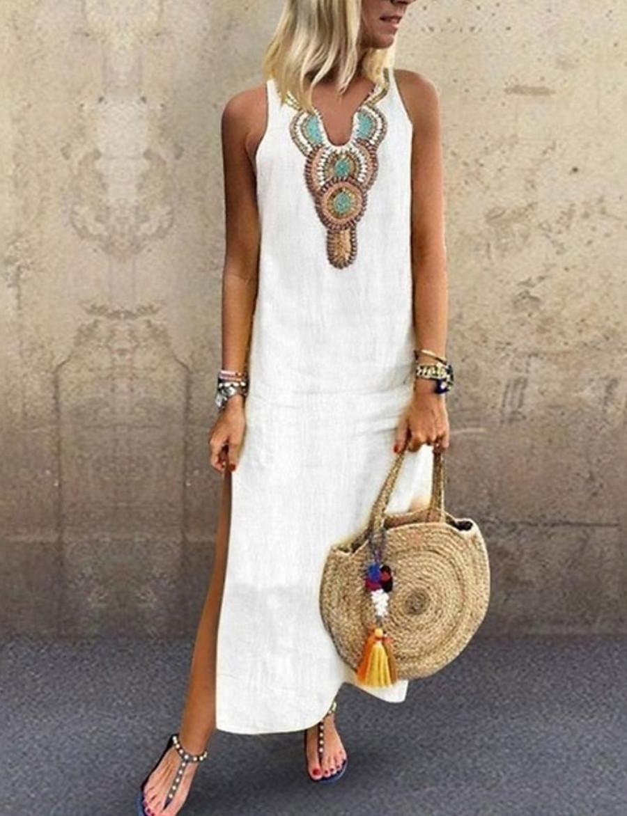 Women's Maxi long Dress Shift Dress Yellow Wine Gray Green White Sleeveless Split Print Tribal V Neck Summer Holiday Beach Hot Casual Boho 2021 S M L XL XXL