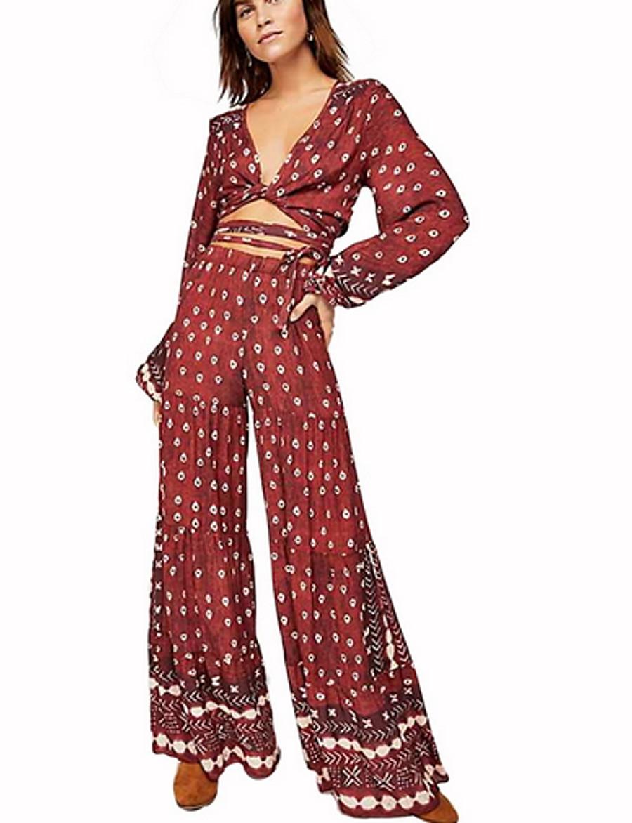 Women's Street chic Red Jumpsuit, Floral Print L XL XXL