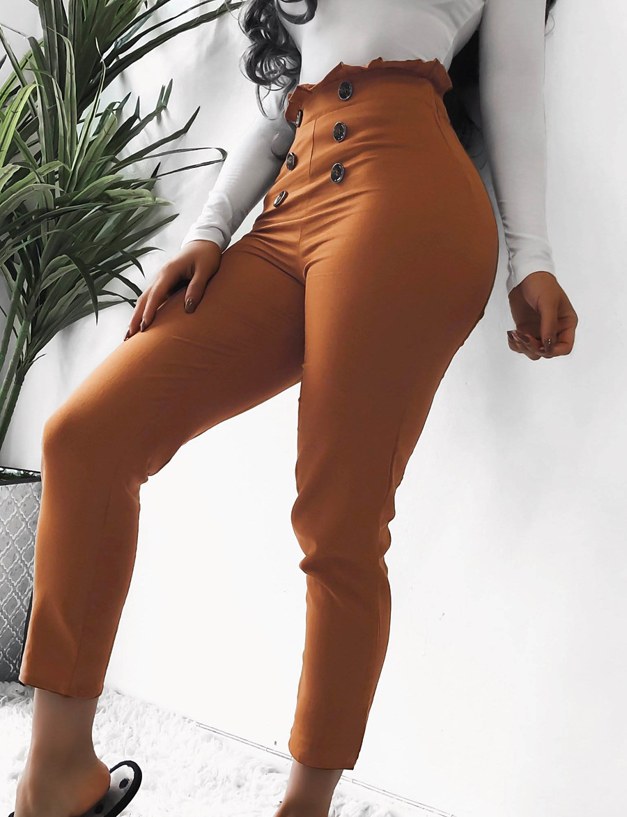 Women's Basic Sophisticated Dress Pants Chinos Pants Solid Colored Classic High Waist Black Camel