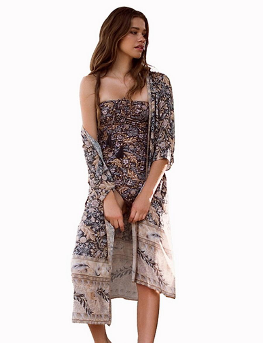 Women's Khaki Skirt Cover-Up Swimwear - Geometric One-Size Khaki