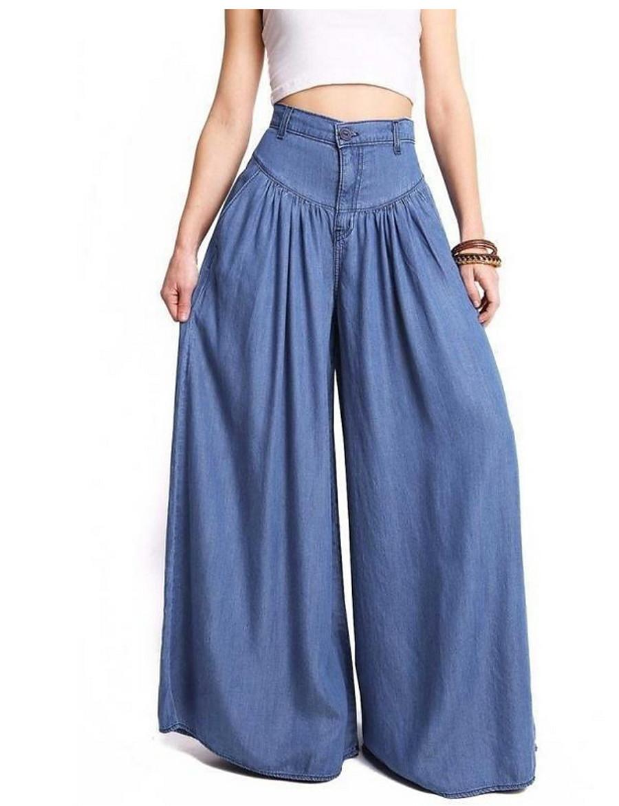 Women's Basic Plus Size Loose Bootcut / Wide Leg Pants - Solid Colored Blue S M L