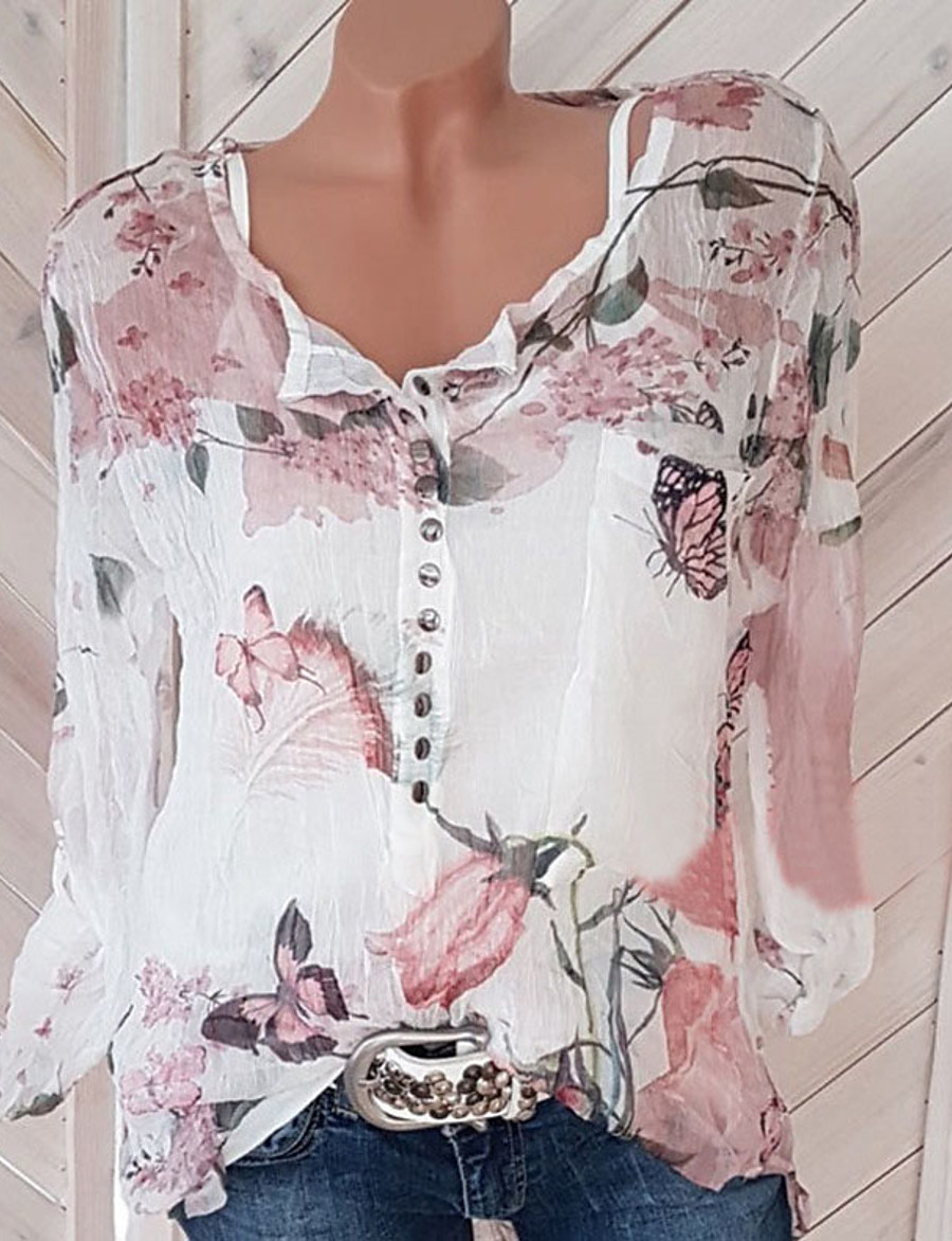 2020 Hot Sale Women's Street chic Plus Size Blouse - Floral Print V Neck White / Spring / Summer / Fall (includes a camisole)