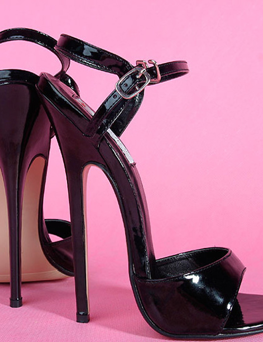Femme Sandales Chaussures sexy Sandales à talons Grandes Tailles Talon Aiguille Bout ouvert Sandales à talons hauts Sexy Soirée & Evénement Polyuréthane Couleur Pleine Blanche Noir Rouge