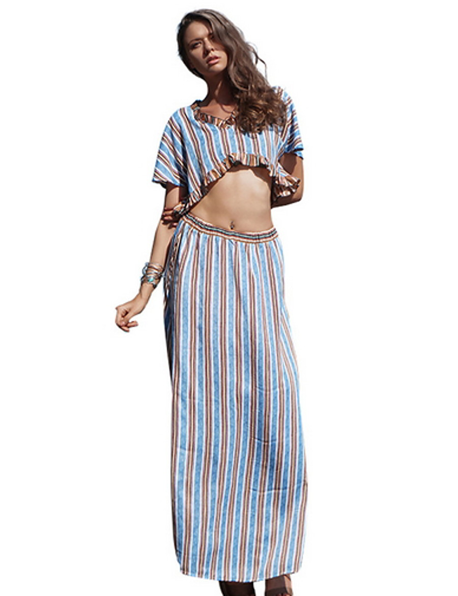 Women's Boho Set - Striped, Ruffle Skirt