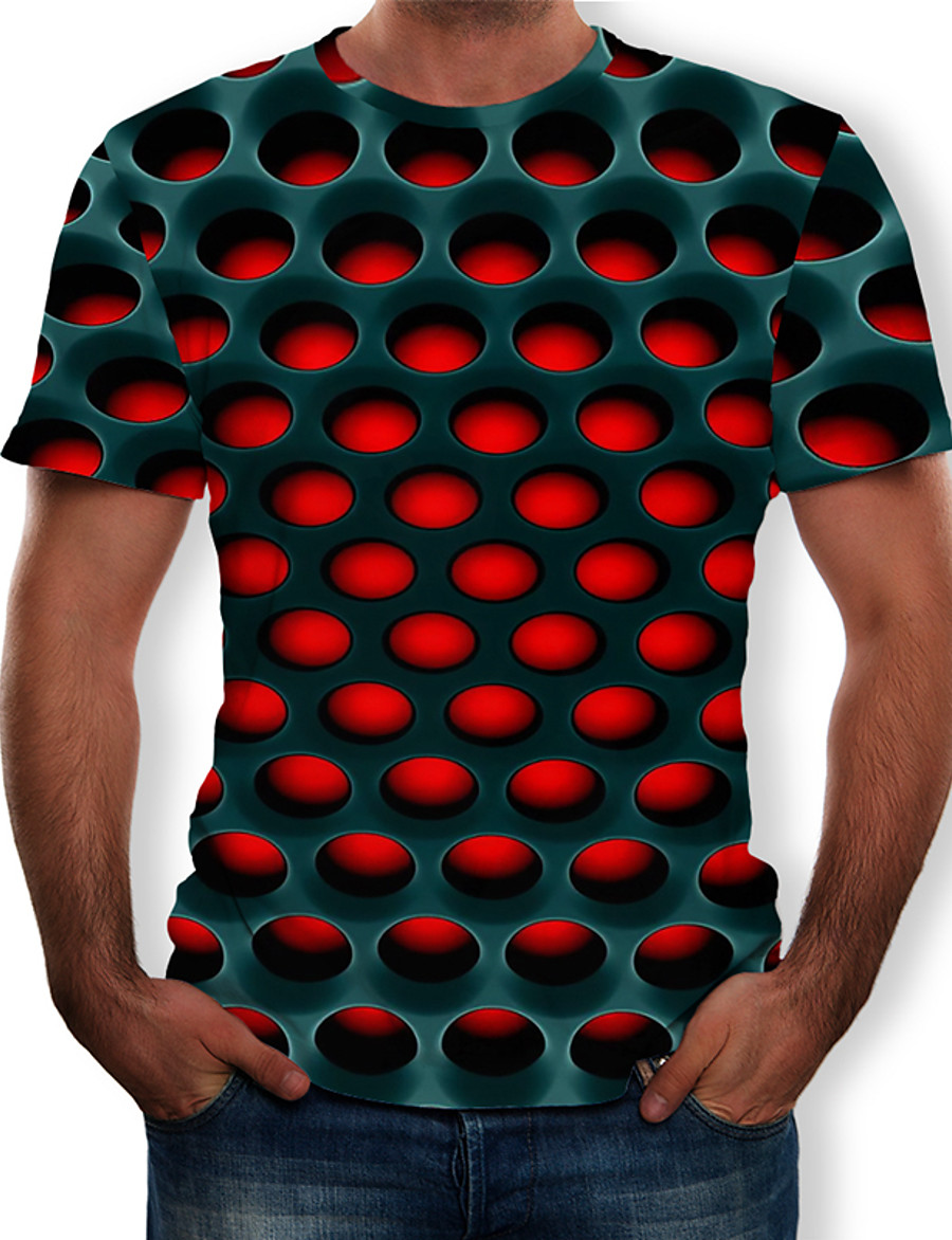 Men's Casual / Daily Plus Size Street chic / Exaggerated T-shirt - Geometric / 3D Print Round Neck Purple