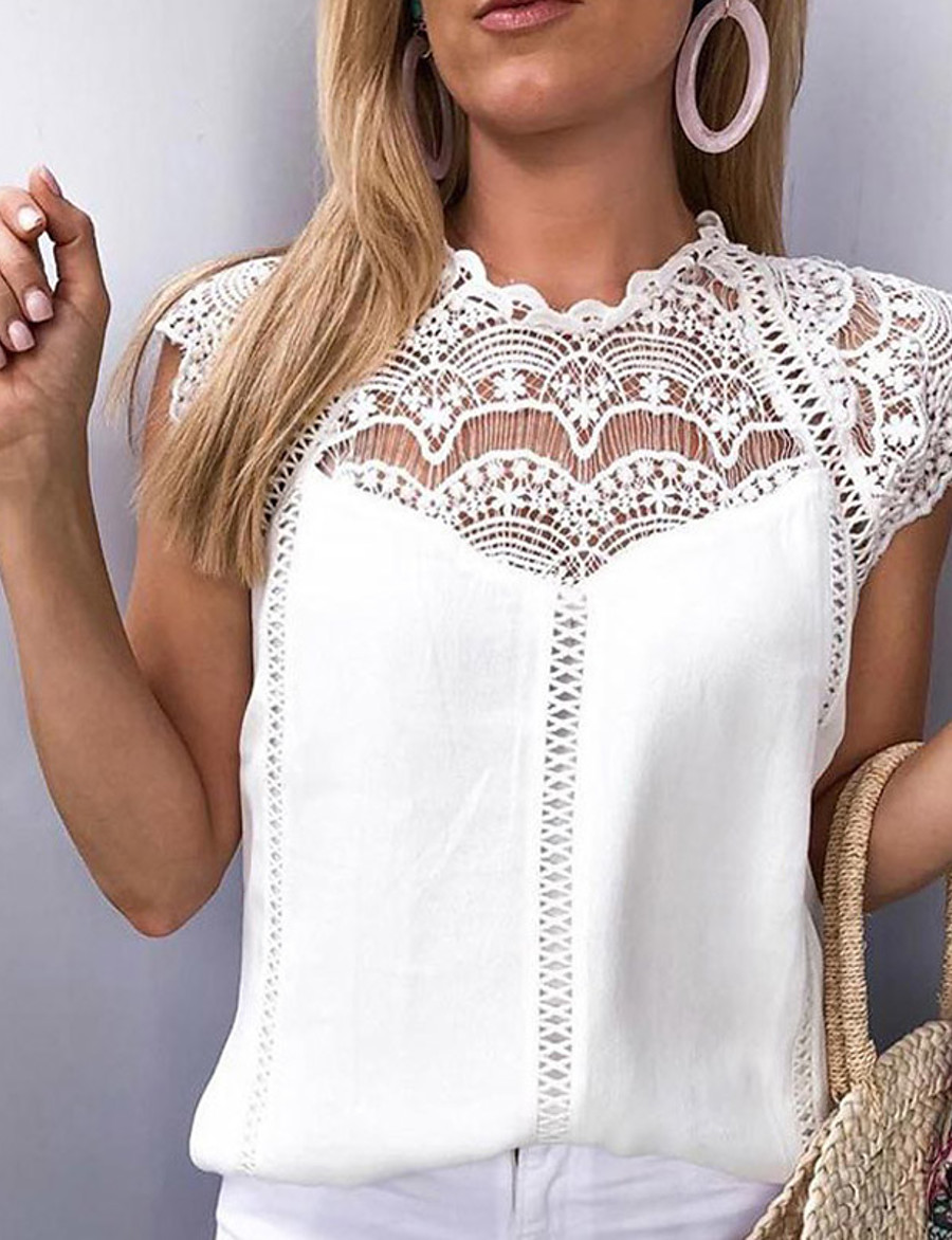 Women's Loose Blouse - Solid Colored Lace White / Spring / Summer