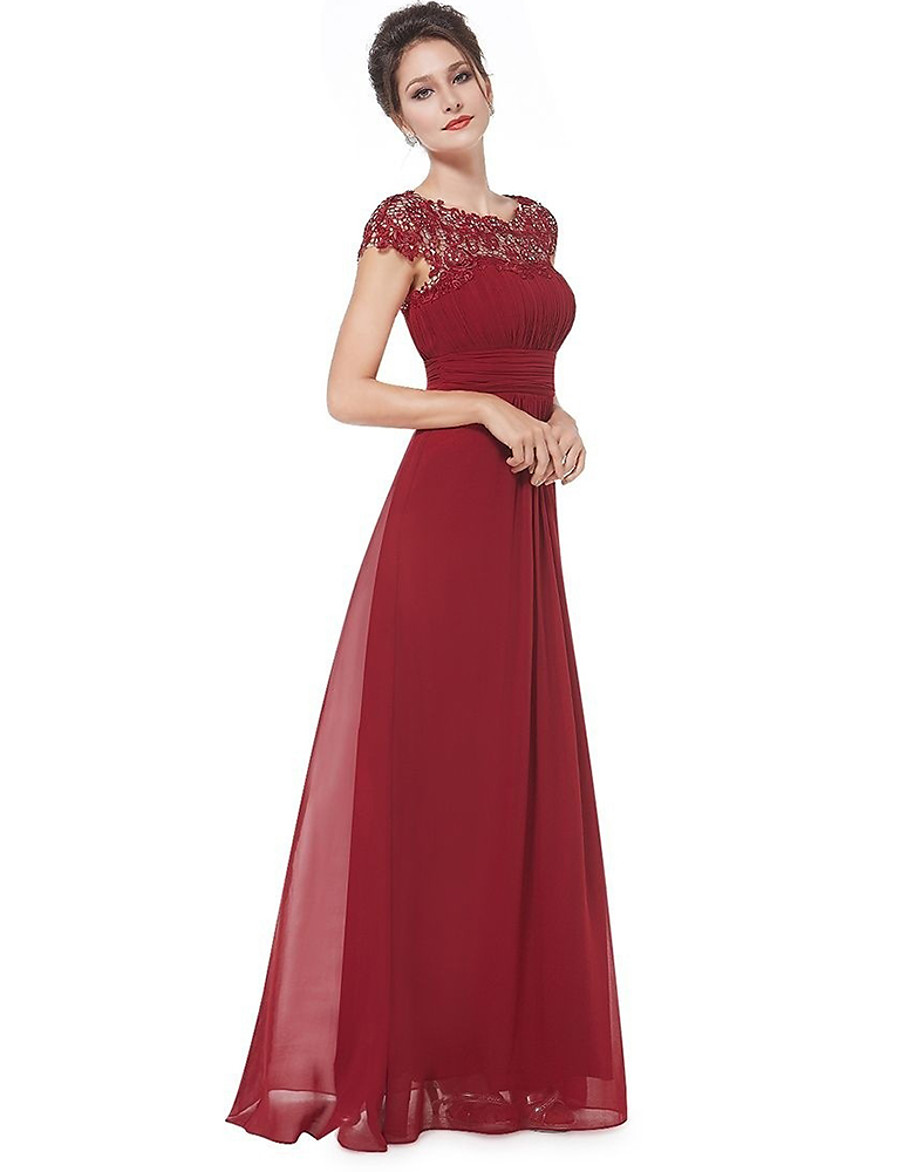 A-Line Boat Neck Floor Length Chiffon / Lace Empire / Red Prom / Wedding Guest Dress with Pleats / Lace Insert 2020