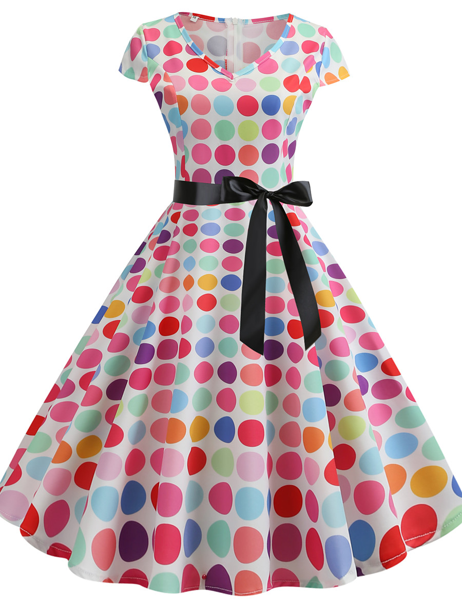Women's Ladies Swing Dress - Sleeveless Printing 3D Digital Print Printing Trendy Date Street White S M L XL XXL