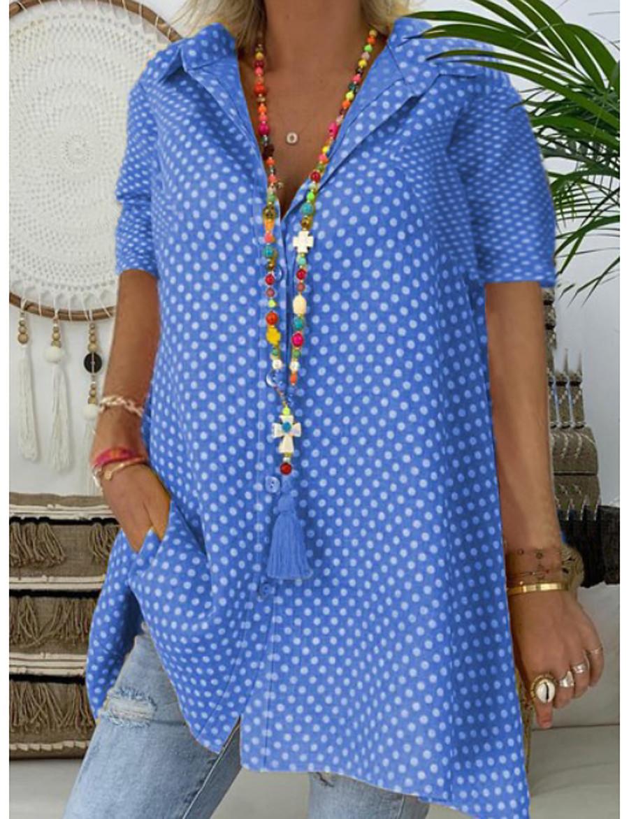 Women's Plus Size Polka Dot Print Shirt Shirt Collar Blue / Red / Yellow / Blushing Pink / Green