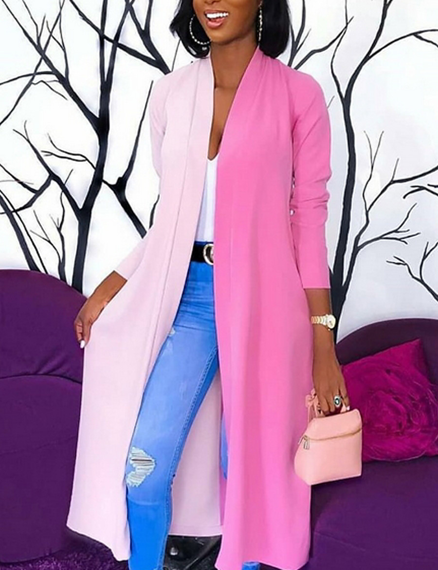 Women's Fall & Winter V Neck Trench Coat Long Color Block Daily Blushing Pink S M L XL