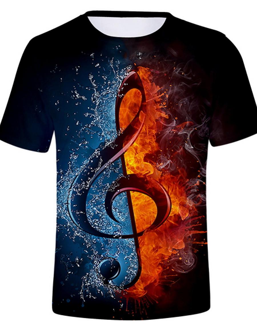 Men's Graphic Flame Print T-shirt Daily Round Neck White / Black / Purple / Gold / Beige / Gray / Summer / Short Sleeve