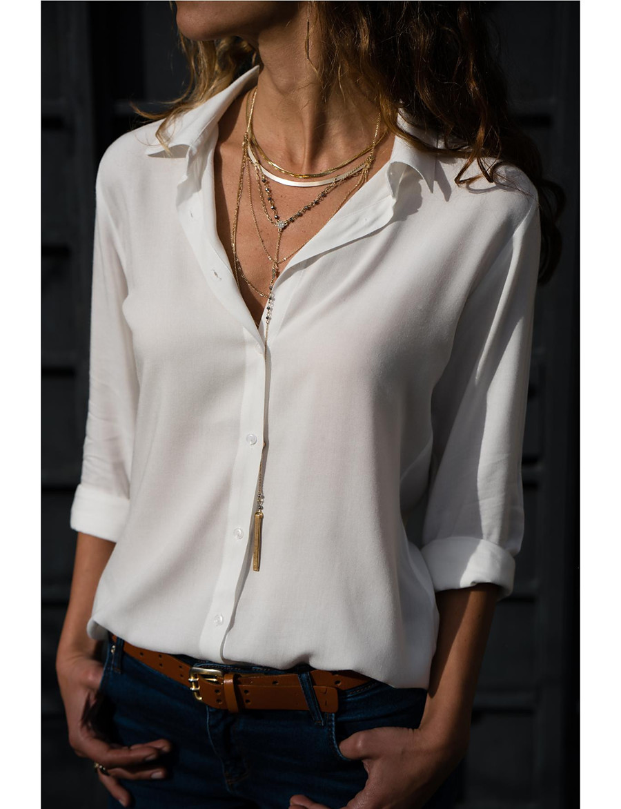 Women's Blouse - Solid Colored Shirt Collar Gray