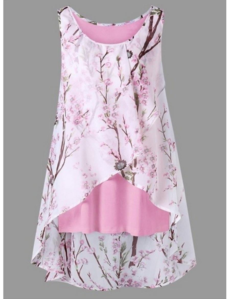 Women's Plus Size Tank Top - Floral Floral / Fashion Black XXXL / Spring / Summer / Fall / Winter