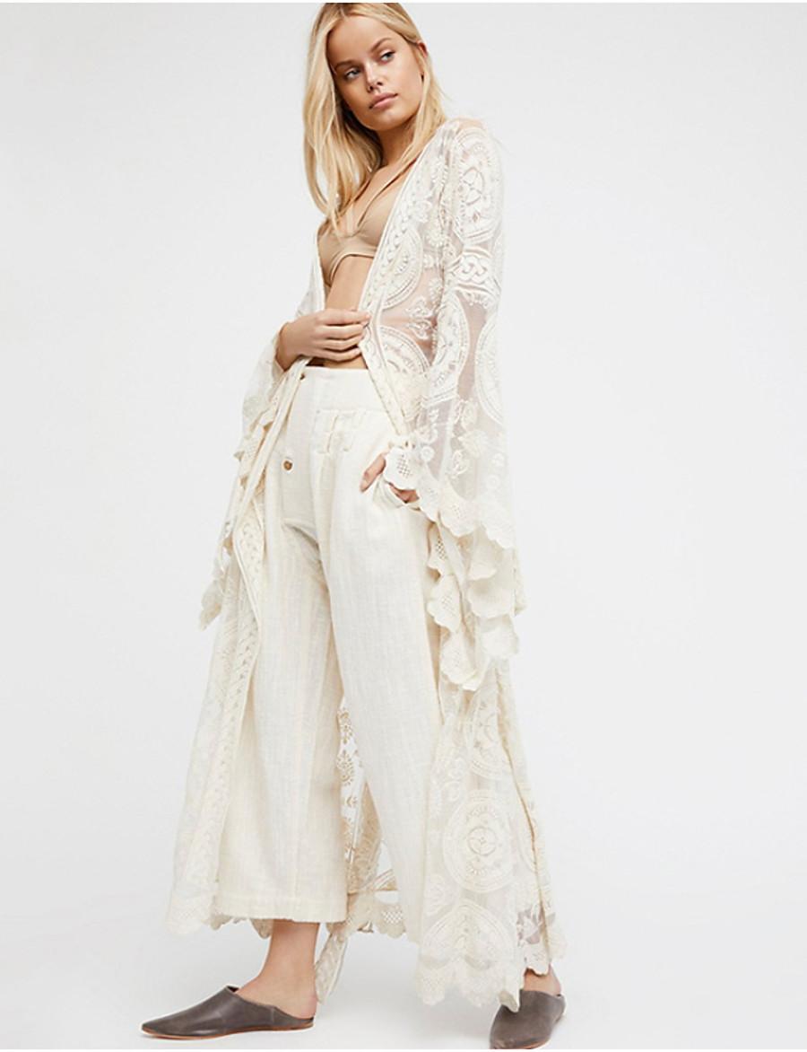 Women's Slim Blouse - Solid Colored V Neck White L