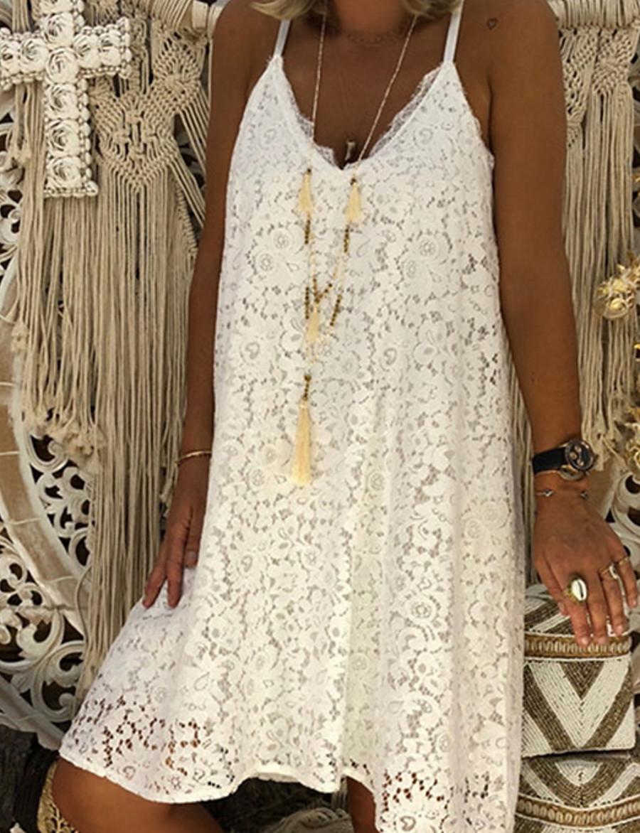 Women's Strap Dress Knee Length Dress - Sleeveless White Black Red Blushing Pink S M L XL XXL XXXL XXXXL XXXXXL