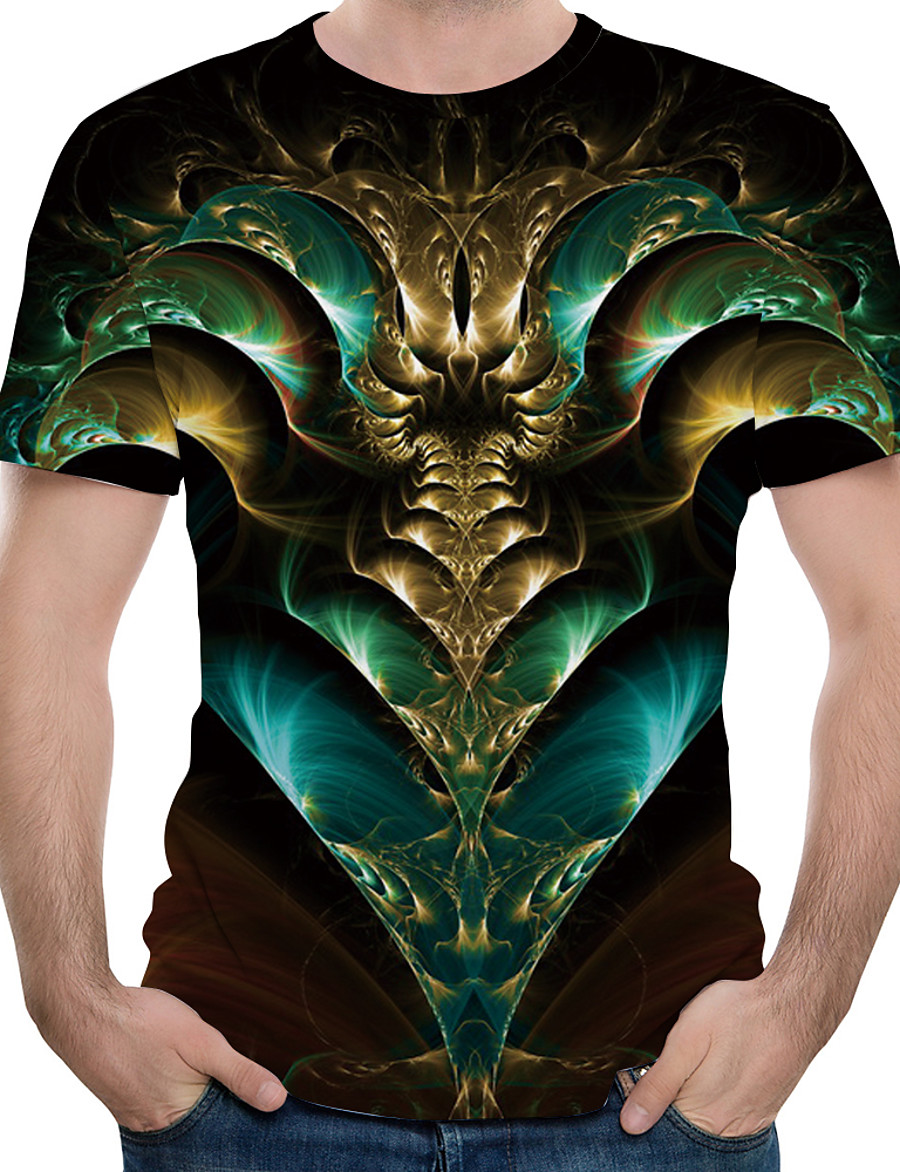 Men's T shirt Shirt Graphic Abstract Print Tops Round Neck Green