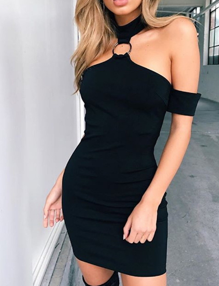 Women's Bodycon Knee Length Dress - Sleeveless Solid Color Off Shoulder Halter Neck Sexy Party Club Black S M L XL
