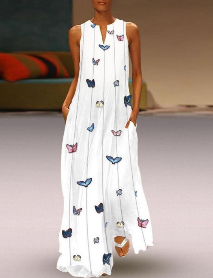 Women's Maxi Butterfly Dress - Sleeveless Animal Print Summer V Neck Casual Holiday Vacation Beach 2020 White Yellow Blushing Pink Light Blue S M L XL XXL XXXL