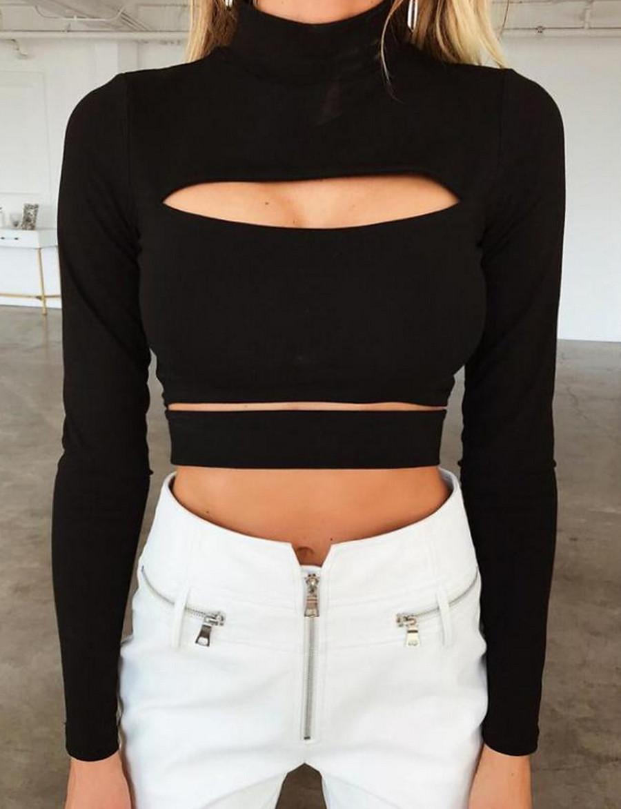 Women's Slim T-shirt - Solid Colored Black