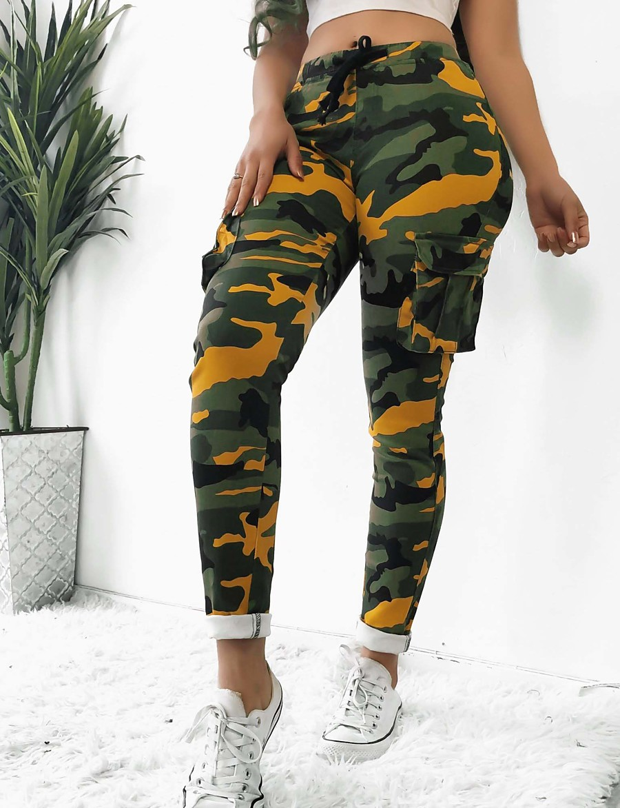 Women's Sporty Slim Sport Daily Wear Tactical Cargo Pants Camouflage Pocket White Yellow Army Green