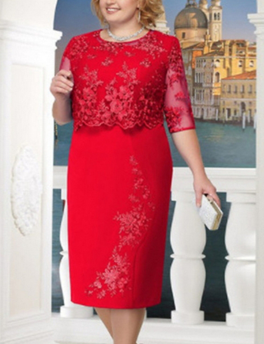 Women's Plus Size Red Blue Dress For Mother / Mom Cocktail Party Going out Shift Solid Colored Lace S M