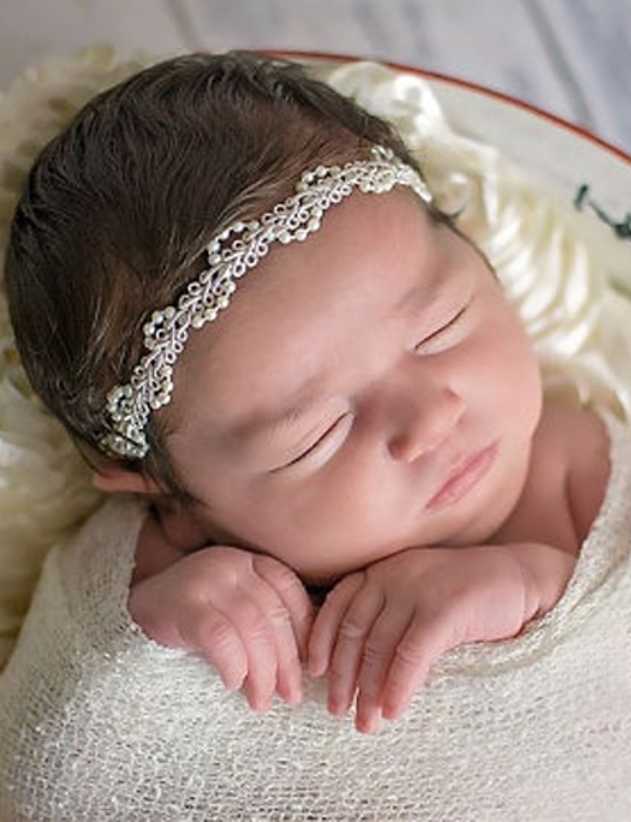 Toddler Unisex Basic / Sweet Solid Colored Floral Acrylic Hair Accessories Beige One-Size