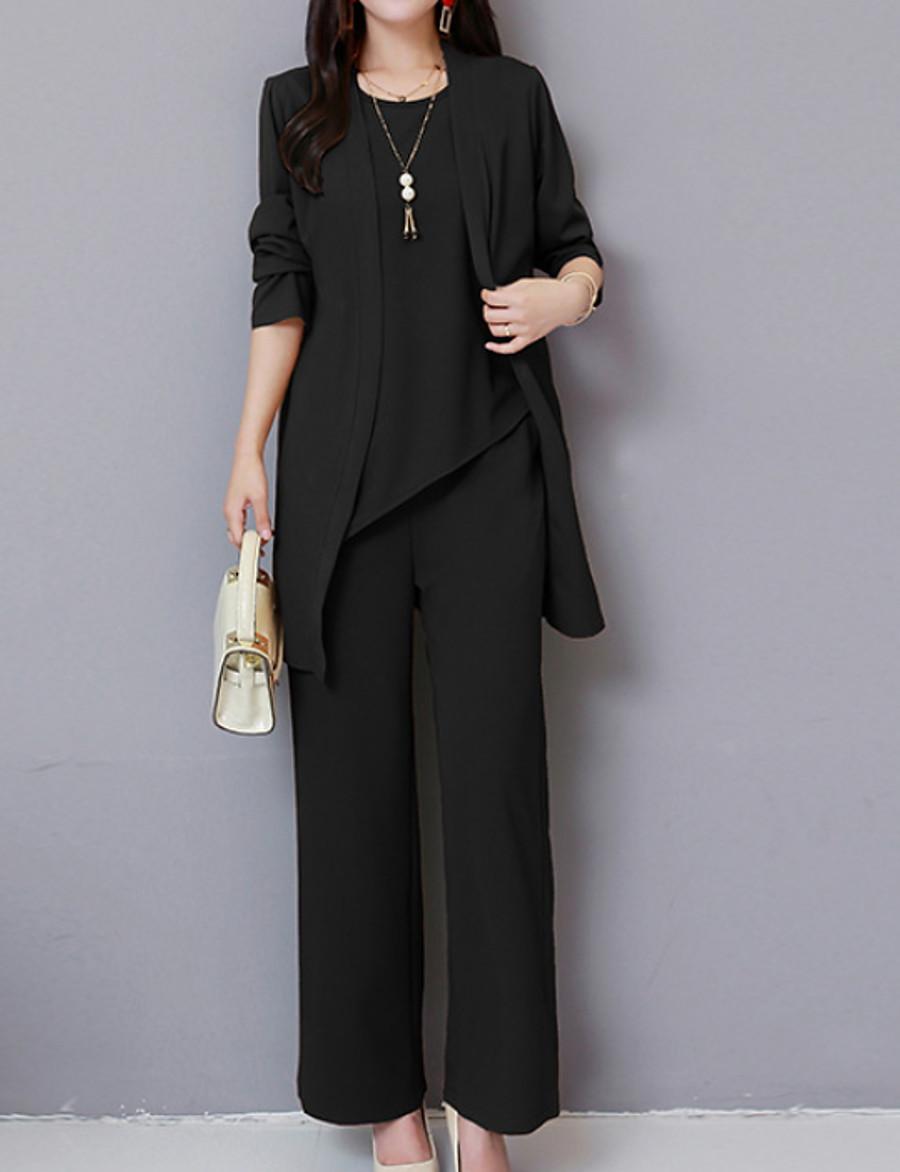 Women's Plus Size Basic Set - Solid Colored Pant
